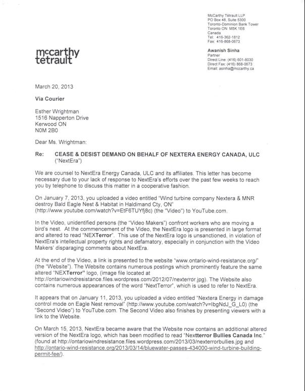 Nextera-Nexterror letter from lawyer